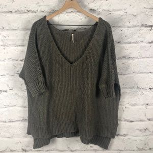 Free People High Low V-Neck Oversize Sweater Sz S